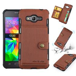 Brush Multi-function Leather Phone Case for Samsung Galaxy J2 Prime G532 - Brown