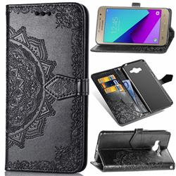 Embossing Imprint Mandala Flower Leather Wallet Case for Samsung Galaxy J2 Prime G532 - Black