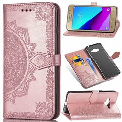 Embossing Imprint Mandala Flower Leather Wallet Case for Samsung Galaxy J2 Prime G532 - Rose Gold