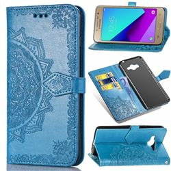 Embossing Imprint Mandala Flower Leather Wallet Case for Samsung Galaxy J2 Prime G532 - Blue