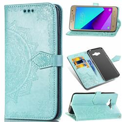 Embossing Imprint Mandala Flower Leather Wallet Case for Samsung Galaxy J2 Prime G532 - Green