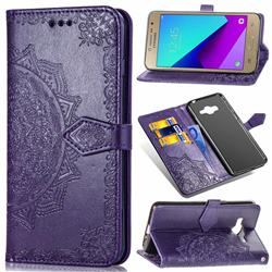 Embossing Imprint Mandala Flower Leather Wallet Case for Samsung Galaxy J2 Prime G532 - Purple