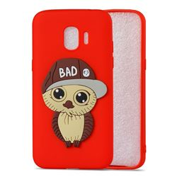 Bad Boy Owl Soft 3D Silicone Case for Samsung Galaxy J2 Pro (2018) - Red