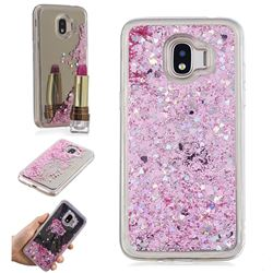 Glitter Sand Mirror Quicksand Dynamic Liquid Star TPU Case for Samsung Galaxy J2 Pro (2018) - Cherry Pink