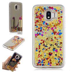 Glitter Sand Mirror Quicksand Dynamic Liquid Star TPU Case for Samsung Galaxy J2 Pro (2018) - Yellow