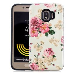 Rose Flower Pattern 2 in 1 PC + TPU Glossy Embossed Back Cover for Samsung Galaxy J2 Pro (2018)