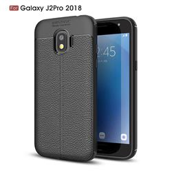 Luxury Auto Focus Litchi Texture Silicone TPU Back Cover for Samsung Galaxy J2 Pro (2018) - Black
