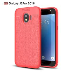 Luxury Auto Focus Litchi Texture Silicone TPU Back Cover for Samsung Galaxy J2 Pro (2018) - Red