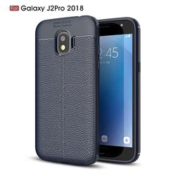Luxury Auto Focus Litchi Texture Silicone TPU Back Cover for Samsung Galaxy J2 Pro (2018) - Dark Blue