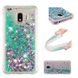 Dynamic Liquid Glitter Sand Quicksand TPU Case for Samsung Galaxy J2 Pro (2018) - Green Love Heart