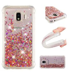 Dynamic Liquid Glitter Sand Quicksand TPU Case for Samsung Galaxy J2 Pro (2018) - Rose Gold Love Heart