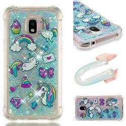 Fashion Unicorn Dynamic Liquid Glitter Sand Quicksand Star TPU Case for Samsung Galaxy J2 Pro (2018)