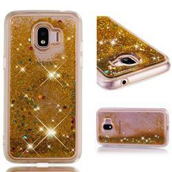 Dynamic Liquid Glitter Quicksand Sequins TPU Phone Case for Samsung Galaxy J2 Pro (2018) - Golden