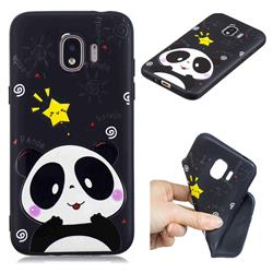Cute Bear 3D Embossed Relief Black TPU Cell Phone Back Cover for Samsung Galaxy J2 Pro (2018)