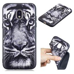 White Tiger 3D Embossed Relief Black TPU Cell Phone Back Cover for Samsung Galaxy J2 Pro (2018)