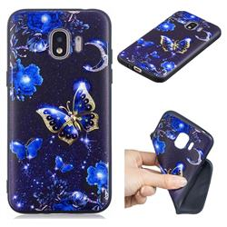 Phnom Penh Butterfly 3D Embossed Relief Black TPU Cell Phone Back Cover for Samsung Galaxy J2 Pro (2018)
