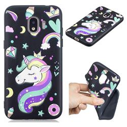 Candy Unicorn 3D Embossed Relief Black TPU Cell Phone Back Cover for Samsung Galaxy J2 Pro (2018)