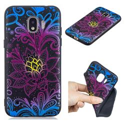 Colorful Lace 3D Embossed Relief Black TPU Cell Phone Back Cover for Samsung Galaxy J2 Pro (2018)