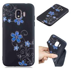 Little Blue Flowers 3D Embossed Relief Black TPU Cell Phone Back Cover for Samsung Galaxy J2 Pro (2018)