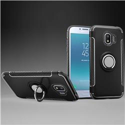 Armor Anti Drop Carbon PC + Silicon Invisible Ring Holder Phone Case for Samsung Galaxy J2 Pro (2018) - Black
