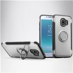Armor Anti Drop Carbon PC + Silicon Invisible Ring Holder Phone Case for Samsung Galaxy J2 Pro (2018) - Silver