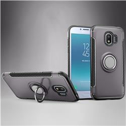Armor Anti Drop Carbon PC + Silicon Invisible Ring Holder Phone Case for Samsung Galaxy J2 Pro (2018) - Grey