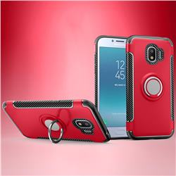 Armor Anti Drop Carbon PC + Silicon Invisible Ring Holder Phone Case for Samsung Galaxy J2 Pro (2018) - Red