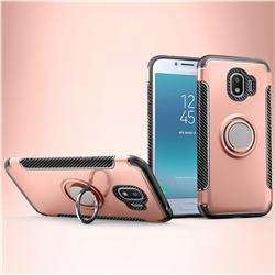 Armor Anti Drop Carbon PC + Silicon Invisible Ring Holder Phone Case for Samsung Galaxy J2 Pro (2018) - Rose Gold