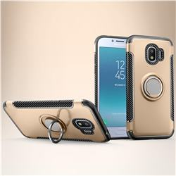 Armor Anti Drop Carbon PC + Silicon Invisible Ring Holder Phone Case for Samsung Galaxy J2 Pro (2018) - Champagne