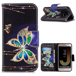 Golden Shining Butterfly Leather Wallet Case for Samsung Galaxy J2 Pro (2018)