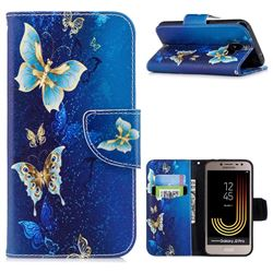 Golden Butterflies Leather Wallet Case for Samsung Galaxy J2 Pro (2018)