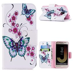 Peach Butterfly Leather Wallet Case for Samsung Galaxy J2 Pro (2018)