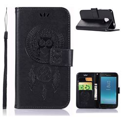 Intricate Embossing Owl Campanula Leather Wallet Case for Samsung Galaxy J2 Pro (2018) - Black