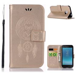 Intricate Embossing Owl Campanula Leather Wallet Case for Samsung Galaxy J2 Pro (2018) - Champagne