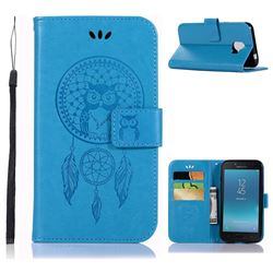 Intricate Embossing Owl Campanula Leather Wallet Case for Samsung Galaxy J2 Pro (2018) - Blue