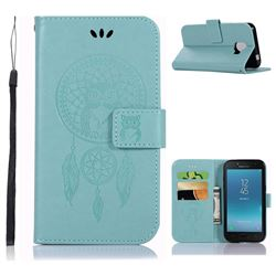 Intricate Embossing Owl Campanula Leather Wallet Case for Samsung Galaxy J2 Pro (2018) - Green