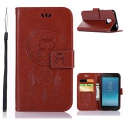 Intricate Embossing Owl Campanula Leather Wallet Case for Samsung Galaxy J2 Pro (2018) - Brown