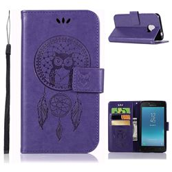 Intricate Embossing Owl Campanula Leather Wallet Case for Samsung Galaxy J2 Pro (2018) - Purple