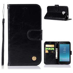 Luxury Retro Leather Wallet Case for Samsung Galaxy J2 Pro (2018) - Black
