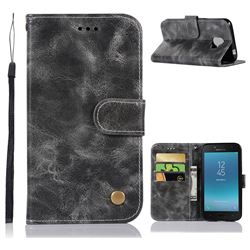 Luxury Retro Leather Wallet Case for Samsung Galaxy J2 Pro (2018) - Gray