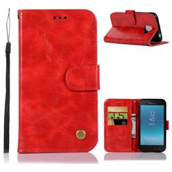 Luxury Retro Leather Wallet Case for Samsung Galaxy J2 Pro (2018) - Red