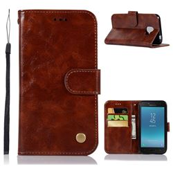 Luxury Retro Leather Wallet Case for Samsung Galaxy J2 Pro (2018) - Brown