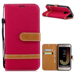 Jeans Cowboy Denim Leather Wallet Case for Samsung Galaxy J2 Pro (2018) - Red