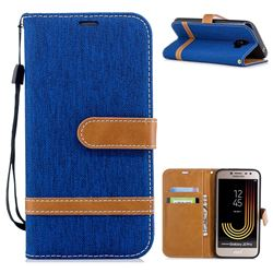 Jeans Cowboy Denim Leather Wallet Case for Samsung Galaxy J2 Pro (2018) - Sapphire