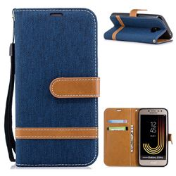 Jeans Cowboy Denim Leather Wallet Case for Samsung Galaxy J2 Pro (2018) - Dark Blue