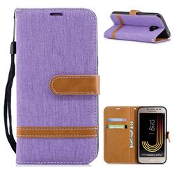 Jeans Cowboy Denim Leather Wallet Case for Samsung Galaxy J2 Pro (2018) - Purple