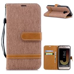 Jeans Cowboy Denim Leather Wallet Case for Samsung Galaxy J2 Pro (2018) - Brown