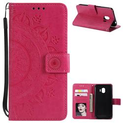 Intricate Embossing Datura Leather Wallet Case for Samsung Galaxy J2 Pro (2018) - Rose Red