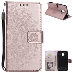 Intricate Embossing Datura Leather Wallet Case for Samsung Galaxy J2 Pro (2018) - Rose Gold
