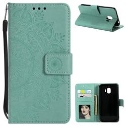 Intricate Embossing Datura Leather Wallet Case for Samsung Galaxy J2 Pro (2018) - Mint Green